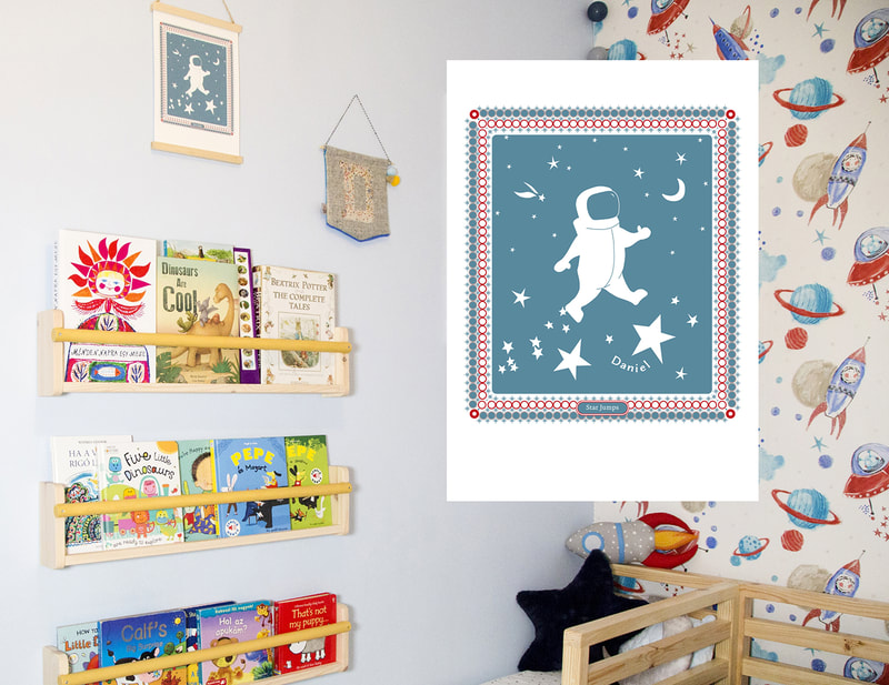 Space Man Nursery Print designed in collaboration with Eco Bairn Interiors